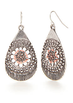 Ruby Rd Silver-Tone Dreamweaver Filigree Teardrop Earrings