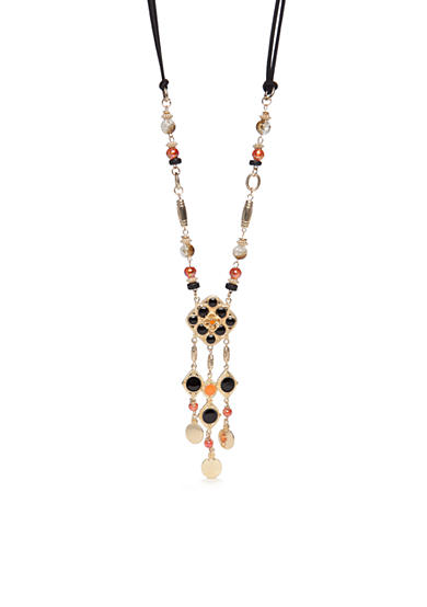 Ruby Rd Gold-Tone Gypsy Caravan Long Linked Tassel Pendant Necklace