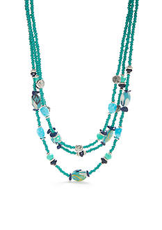 Ruby Rd Silver-Tone Keeping Cool Beaded Necklace