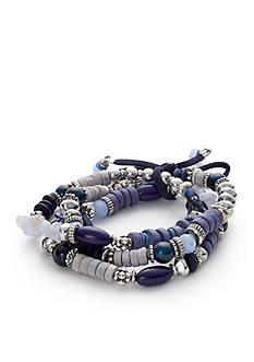 Silver-Tone Ruby Rd. Three Row Beaded Stretch Bracelet