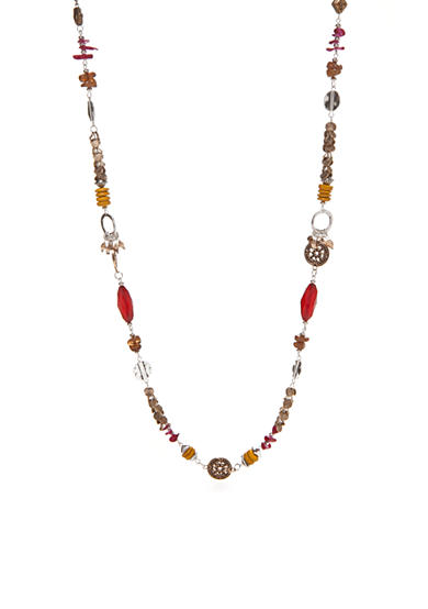 Ruby Rd Silver-Tone Nouveau Boho Beaded Long Necklace