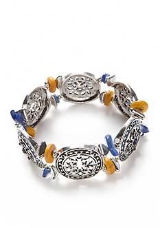Ruby Rd Silver-Toned Nouveau Boho Stretch Bracelet