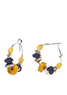 Ruby Rd Silver-Tone Nouveau Boho Click Hoop Earrings