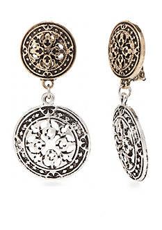 Ruby Rd Two-Tone Nouveau Boho Clip Earrings
