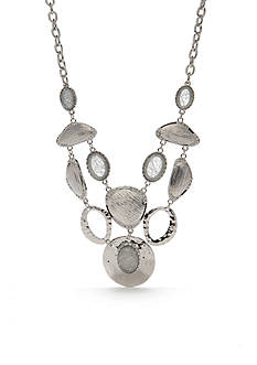 Ruby Rd Silver-Tone Neutral Territory Link Statement Necklace