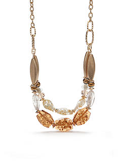 Ruby Rd Gold-Tone Neutral Territory Nugget Statement Necklace