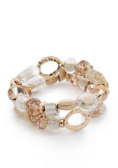Kim Rogers Gold Tone Double Row Beaded Stretch Bracelet