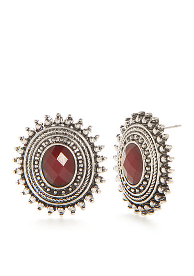 Ruby Rd Silver-Tone Fine Wine Button Earrings