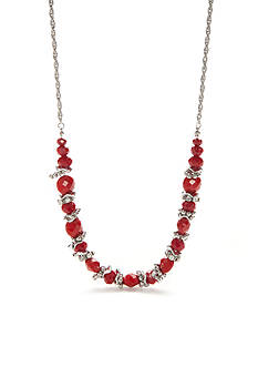 Ruby Rd Silver-Tone Faceted Beaded Necklace