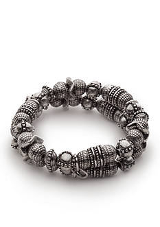 Ruby Rd Silver-Tone Tooled Metal Bead Stretch Bracelet