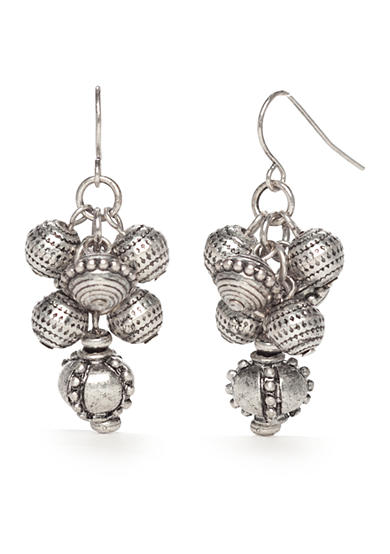 Ruby Rd Silver-Tone Tooled Metal Cluster Drop Earrings