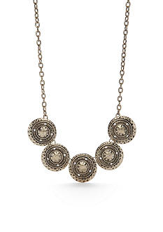 Ruby Rd Gold-Tone Hammered Round Collar Necklace