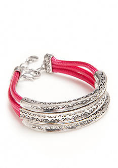 Ruby Rd Silver-Tone Seaside Chic 3 Row Cord Bangle Bracelet
