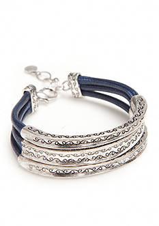 Ruby Rd Silver-Tone Seaside Chic 3 Row Cord Bangle Bracelet