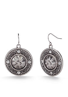 Ruby Rd Silver-Tone Disc Drop Earrings