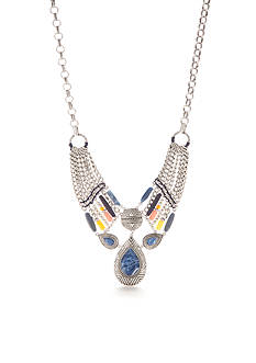 Ruby Rd Silver Tone Fresh Start Tribal Statement With Tear Pendant Necklace