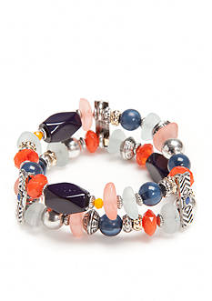 Ruby Rd Two-Tone Fresh Start 2 Row Beaded Stretch Bracelet