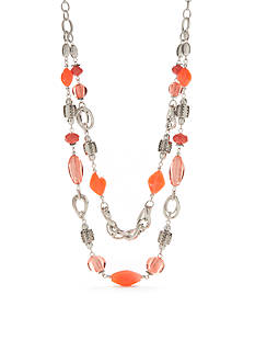 Ruby Rd Bold Moves 2 Row Link Beads Necklace
