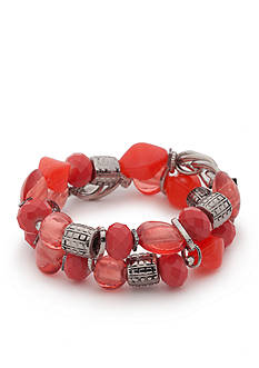 Ruby Rd Silver-Tone Bold Moves Beaded Stretch Bracelet