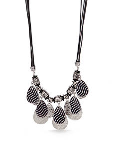 Ruby Rd Silver-Tone Geo Graphic Statement Necklace
