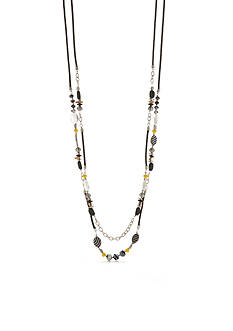 Ruby Rd Geo Graphic 2 Row Long Necklace with Stations