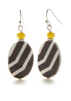Ruby Rd Graphic Stripe Oval Shell Drop Earring