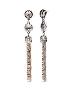 Ruby Rd Two-Tone Chain Reactive Tassel Drop Earrings