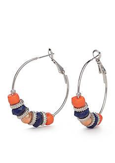 Ruby Rd Silver-Tone Viva Antiqua Beaded Hoop Earrings