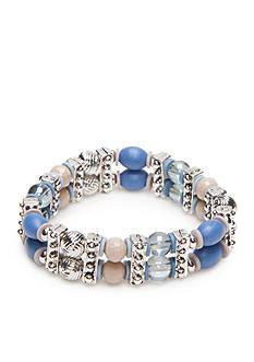 Ruby Rd Silver-Tone Blue Traveler Stretch Bracelet