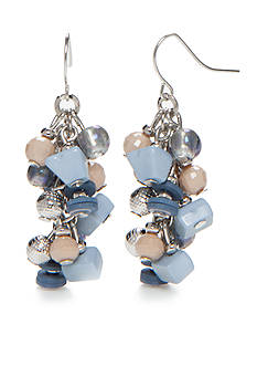 Ruby Rd Silver-Tone Blue Traveler Cluster Drop Earrings