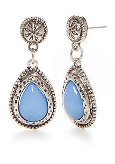 Ruby Rd Silver-Tone Blue Traveler Double Drop Earrings