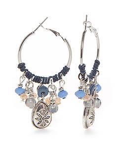 Ruby Rd Silver-Tone Blue Traveler Hoop Earrings