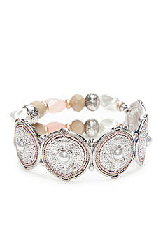 Ruby Rd Silver-Tone Desert Rose Disc Frontal Stretch Bracelet