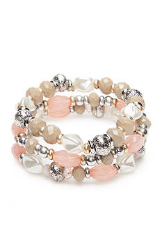 Ruby Rd Two-Tone Desert Rose Three Row Stretch Bracelet
