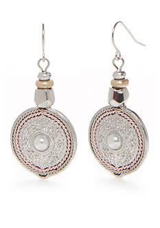 Ruby Rd Silver-Tone Desert Rose Disc Drop Earrings