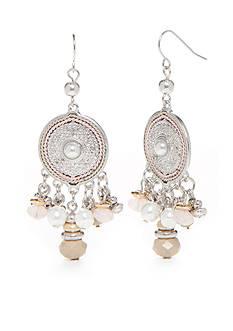 Ruby Rd Silver-Tone Desert Rose Disc Fringe Drop Earrings
