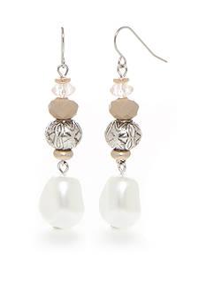 Ruby Rd Silver-Tone Desert Rose Beaded Pearl Drop Earrings
