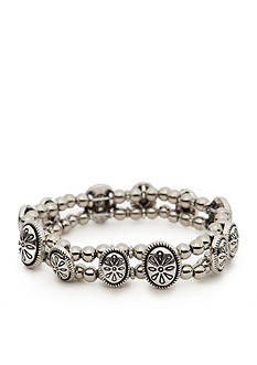 Ruby Rd Silver-Tone Spring Metals Metal Beaded Stretch Bracelet