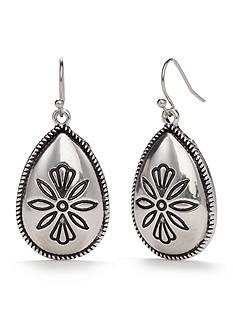 Ruby Rd Silver-Tone Spring Metals Teardrop Drop Earrings