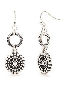 Ruby Rd Silver-Tone Spring Metals Flower Double Drop Earrings