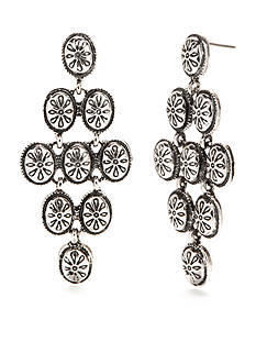 Ruby Rd Silver-Tone Spring Metals Diamond Oval Drop Earrings