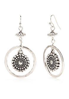 Ruby Rd Silver-Tone Spring Metal Floral Drop Earrings