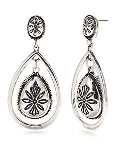 Ruby Rd Silver-Tone Spring Metals Orbital Teardrop Earrings