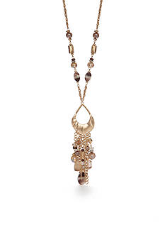 Ruby Rd Gold-Tone Coconut Cove Long Beaded Tassel Pendant Necklace