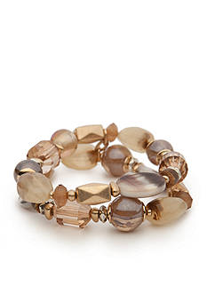 Ruby Rd Gold-Tone Coconut Cove Beaded Semi Stretch Bracelets