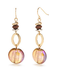 Ruby Rd Gold-Tone Coconut Cove Beaded Drop Earrings