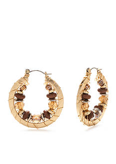 Ruby Rd Gold-Tone Coconut Cove Beaded Hoop Earrings