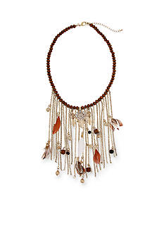 Red Camel® Gold-Tone Bead and Feather Statement Necklace