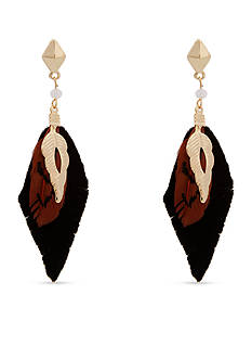 Red Camel® Gold-Tone Feather Drop Earrings