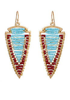 Red Camel Gold-Tone Beaded Drop Earrings